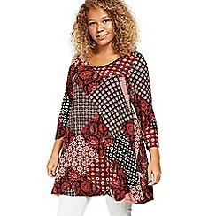 Evans - Red floral patchwork swing tunic