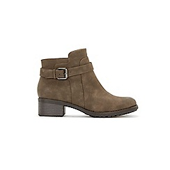 Evans - Extra Wide Fit Taupe Buckle Strap Ankle Boots