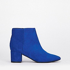 Evans - Extra wide fit blue block ankle boots