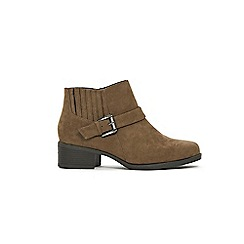 Evans - Wide fit brown elastic buckle square toe boots