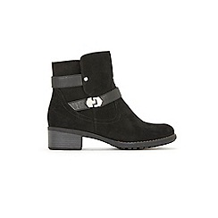 Evans - Extra Wide Fit Black Double Buckle Ankle Boots