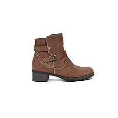Evans - Extra Wide Fit Taupe Double Buckle Ankle Boots