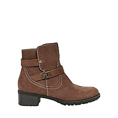 Evans - Wide fit taupe double buckle ankle boots