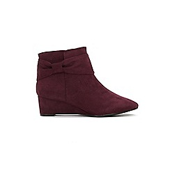 Evans - Extra Wide Fit Burgundy Bow Wedge Ankle Boots
