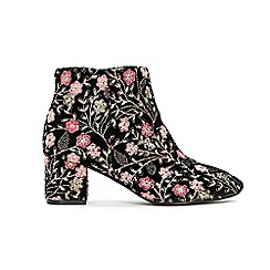 Evans - Extra Wide Fit Black Embroidered Ankle Boot