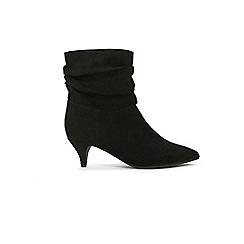 090526dd62b Evans - Extra Wide Fit Black Ruched Kitten Heel Ankle Boots