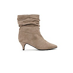 Evans - Extra Wide Fit Grey Rouched Kitten Heel Ankle Boots