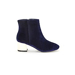 Evans - Extra Wide Fit Navy Blue Flared Heel Ankle Boots
