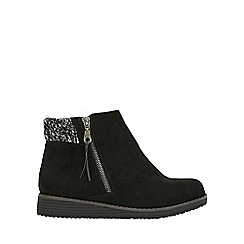 Evans - Extra wide fit black cuff ankle boots