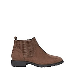 Evans - Extra wide fit brown elastic chelsea boots