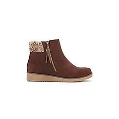 Evans - Extra Wide Fit Brown Knit Cuff Wedge Ankle Boots
