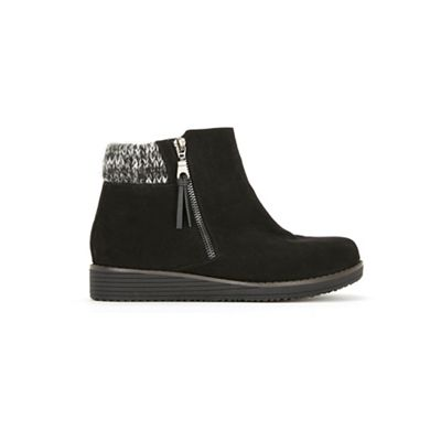 656ff517fde Evans Wide Fit Black Knit Cuff Wedge Ankle Boots
