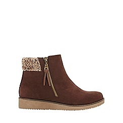 Evans - Wide fit brown cuff wedge boots