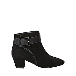 Evans - Extra wide fit black square buckle ankle boots