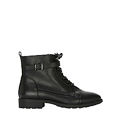 Evans - Extra wide fit black laceup hiker boots
