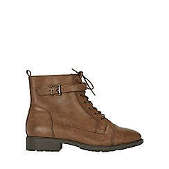 Evans - Extra wide fit brown laceup hiker boots