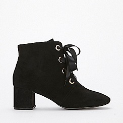 Evans - Extra wide fit black satin lace boots