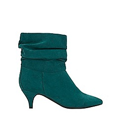 Evans - Extra wide fit teal rouched kitten heel ankle boots