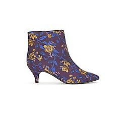 Evans - Extra Wide Fit Purple Jacquard Kitten Ankle Boots