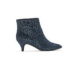 Evans - Extra Wide Fit Blue Faux Leopard Kitten Ankle Boots