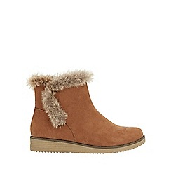 Evans - Extra wide fit brown faux fur wedge boots