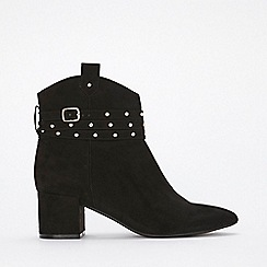 Evans - Extra wide fit black stud strap ankle boots