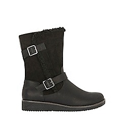 Evans - Wide fit black faux fur lined biker boots