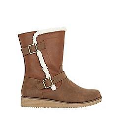 Evans - Wide fit brown faux fur lined biker boots