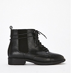 Evans - Extra wide fit black lace up ankle boots