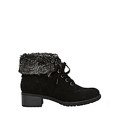 Evans - Extra wide fit black cuff lace up ankle boots