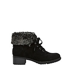 Evans - Wide fit black fur cuff lace up ankle boots