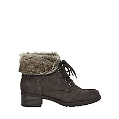 Evans - Wide fit grey faux fur cuff lace up ankle boots