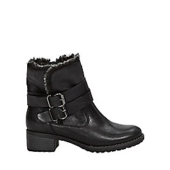 Evans - Extra wide fit black faux fur lined biker ankle boots