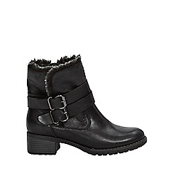 Evans - Wide fit black fur lined biker ankle boots