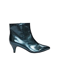 Evans - Wide fit blue kitten heel boots