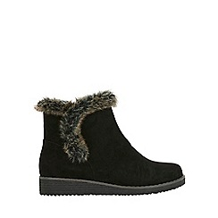 Evans - Wide fit black faux fur trim wedge boots