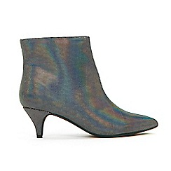 Evans - Extra Wide Fit Pewter Shimmer Kitten Heel Ankle Boots