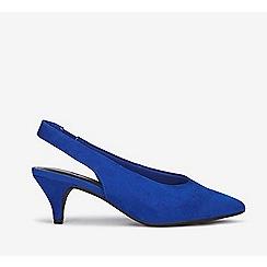 Evans - Extra wide fit blue slingback kitten heel court shoes