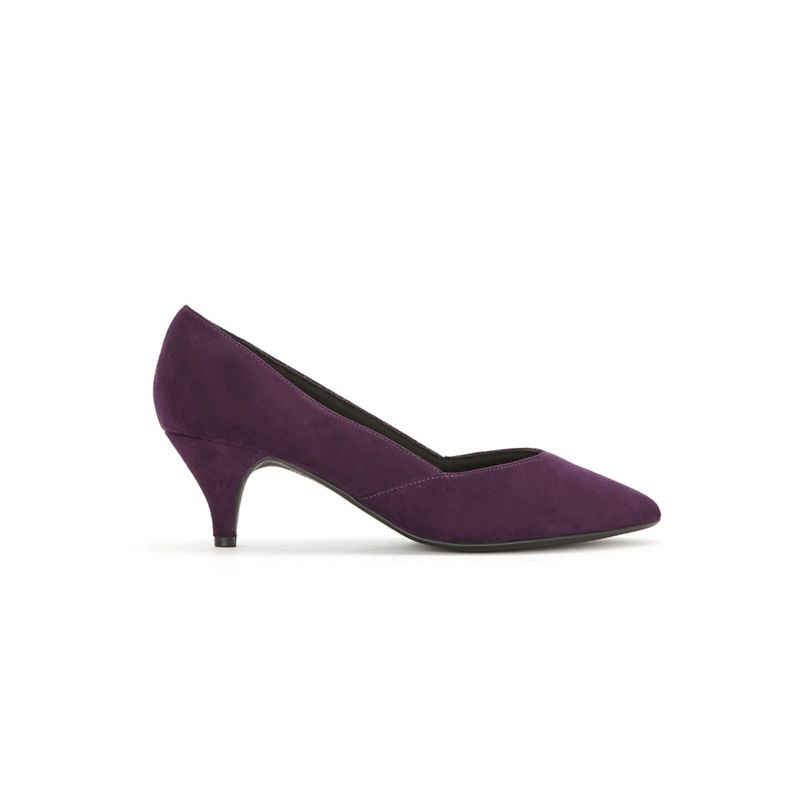 Evans - Extra Wide Fit Purple Sweetheart Kitten Heel Court