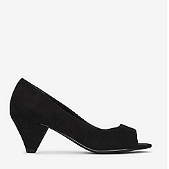 Evans - Extra Wide Fit Black Peep Toe Cone Heel Shoes