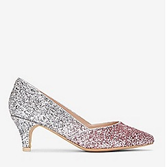 Evans - Extra Wide Fit Silver Glitter Court Shoes