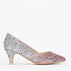 Evans - Wide Fit Silver Glitter Court Shoes
