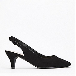 Evans - Extra Wide Fit Black Slingback Court Shoes