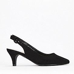Evans - Wide Fit Black Slingback Kitten Heel Court Shoes