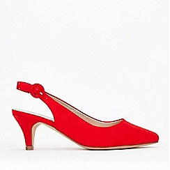 Evans - Wide Fit Red Slingback Kitten Heel Court Shoes