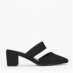 Evans - Extra Wide Fit Black Block Heel Mules