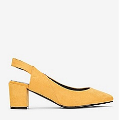 Evans - Wide Fit Yellow Slingback Block Heel Court Shoes