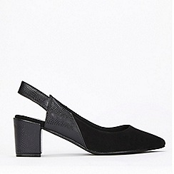 Evans - Extra Wide Fit Black Slingback Block Heel Shoes
