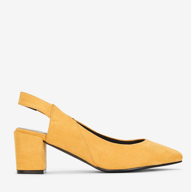 Evans - Extra Wide Fit Yellow Slingback Block Heel Shoes