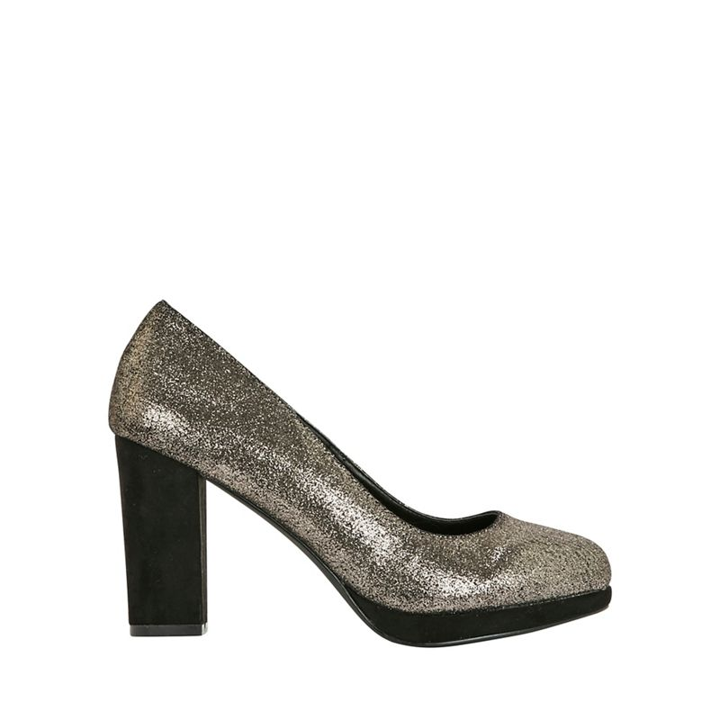 Evans - Extra Wide Fit Gold Platform Court Shoes